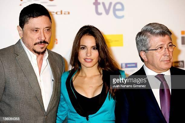 Actor Carlos Bardem actress Veronica Echegui and Enrique Cerezo attend Jose Maria Forque 2012 Awards candidates presentation at Teatro Real on...