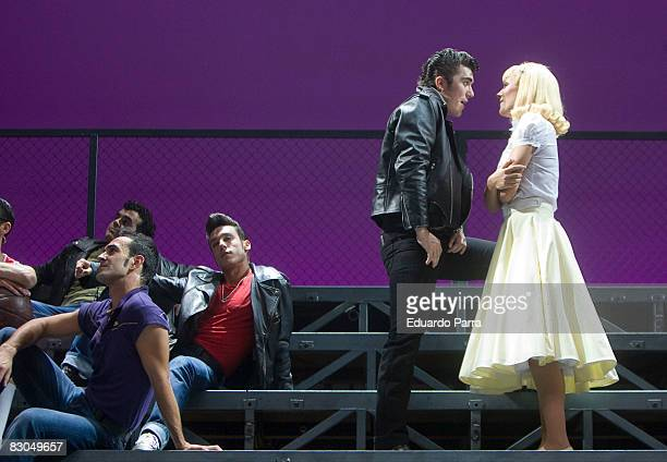 Actor Carlos Lozano and actress Edurne rehearse for the musical 'Grease' at Nuevo Teatro Apolo on September 29 2008 in Madrid Spain