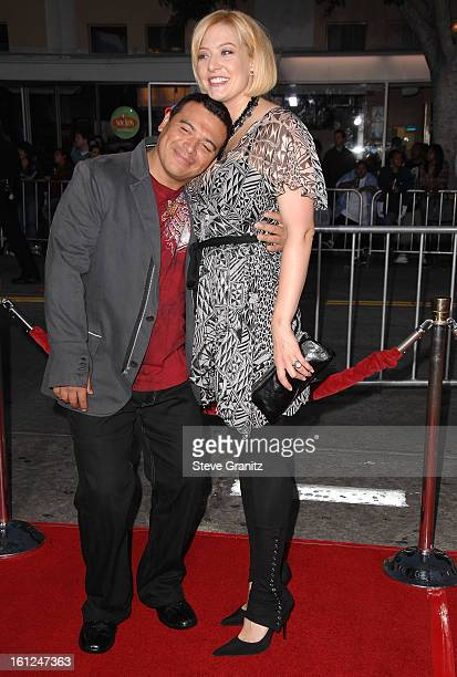 """Actor Carlos Mencia and wife Amy arrives at """"The Heartbreak Kid"""" premiere at the Mann Village Theatre on September 27, 2007 in Westwood, California."""