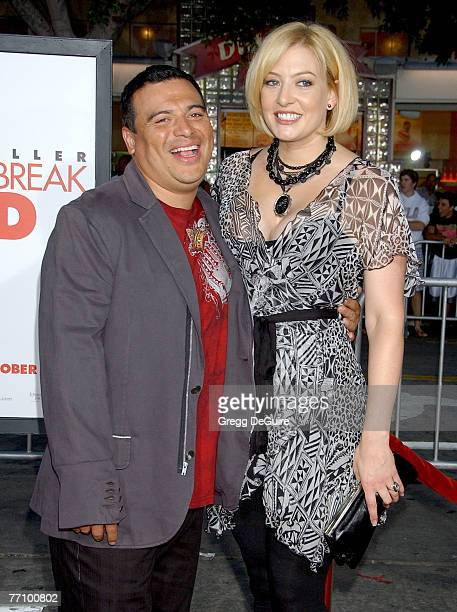 Actor Carlos Mencia and wife Amy Mencia arrive at The Heartbreak Kid premiere at the Mann Village Theatre on September 27 2007 in Westwood California