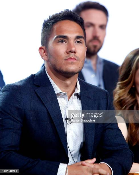 Actor Carlos PenaVega of the television show Life Sentence speaks on stage during the CW portion of the 2018 Winter Television Critics Association...