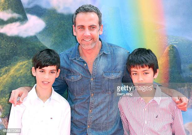 Actor Carlos Ponce and his sonss Giancarlo Ponce and Sebastian Ponce arrive at the Los Angeles Premiere of Disney's 'The Pirate Fairy held on March...