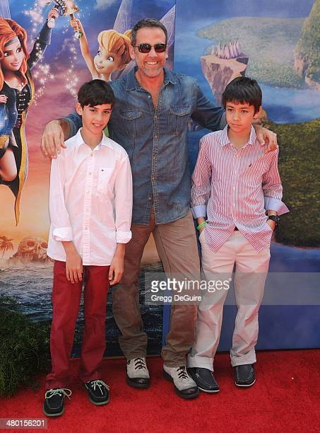 Actor Carlos Ponce and kids Giancarlo Ponce and Sebastian Ponce arrive at the Los Angeles premiere of Disney's The Pirate Fairy at Walt Disney Studio...