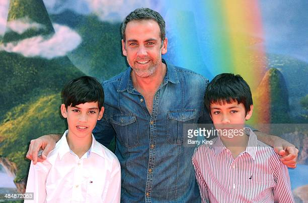 Actor Carlos Ponce and sons Giancarlo Ponce and Sebastian Ponce arrive at the Los Angeles Premiere of Disney's 'The Pirate Fairy held on March 22...