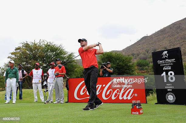 Actor Carmine Giovinazzo in action during Round 1 of the Gary Player Invitational presented by CocaCola at the Lost City Golf Course on November 16...
