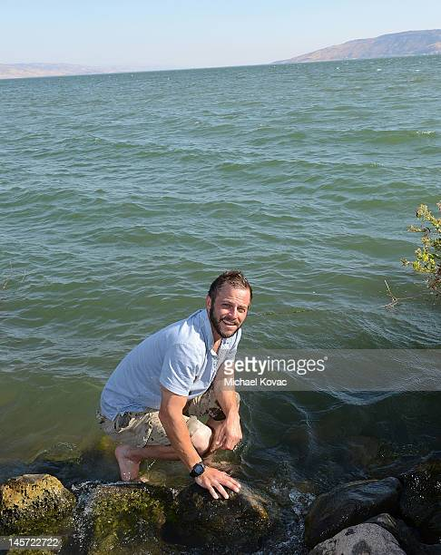Actor Carmine Giovinazzo visits the Sea of Galilee on June 2 2012 in Capernaum Israel