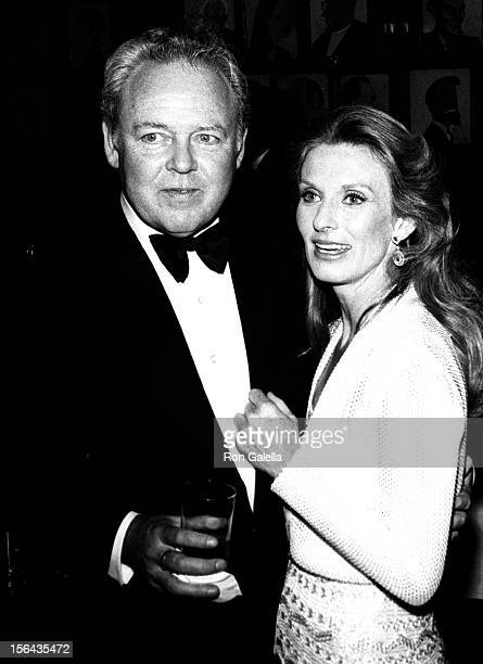 Actor Carroll O'Connor and Nancy Fields attend Tony August Awards on June 9 1974 at Sardi's Restaurant in New York City New York