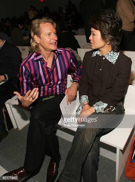 Actor Carson Kressley and Alina Cho correspondent from CNN attend the Jeffrey Chow Fall 2005 fashion show during the Olympus Fashion Week at Bryant...