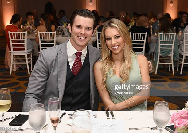 Actor Carson Nicely and sportscaster Lindsay McCormick attend the Pia Gladys Perey Spring/Summer 2016 Fashion Show at Sofitel Hotel on October 23...