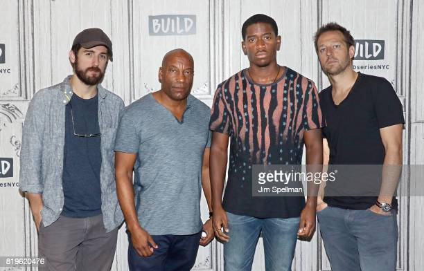 Actor Carter Hudson show creator John Singleton actor Damson Idris and show creator Dave Andron attend Build to discuss 'Snowfall' at Build Studio on...
