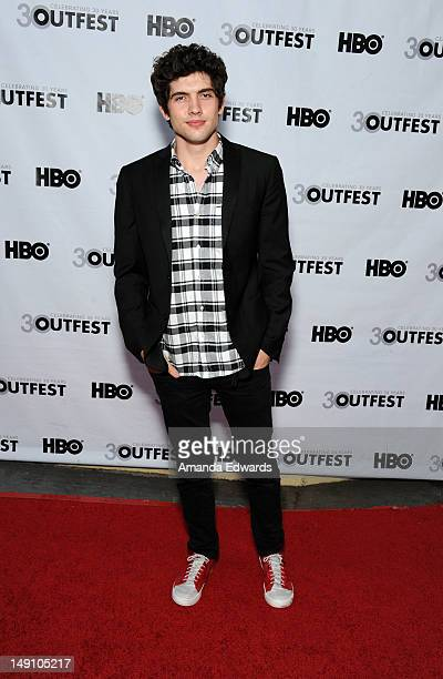 Actor Carter Jenkins arrives at the 2012 Outfest Struck By Lightning Premiere at the John Anson Ford Amphitheatre on July 22 2012 in Los Angeles...