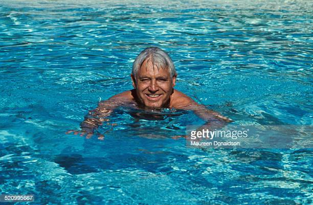 Actor Cary Grant in a swimming pool circa 1978