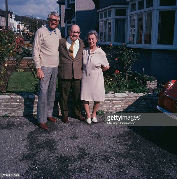 Actor Cary Grant with an elderly couple, circa 1978.