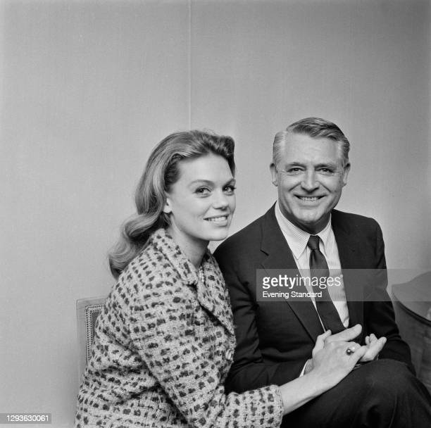 Actor Cary Grant with his wife, actress Dyan Cannon, in London, UK, 3rd August 1966.