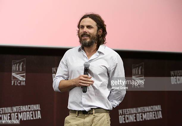 Actor Casey Affleck attends the Mexican screening of 'Manchester By The Sea' during the 14th Annual Morelia International Film Festival on October 22...