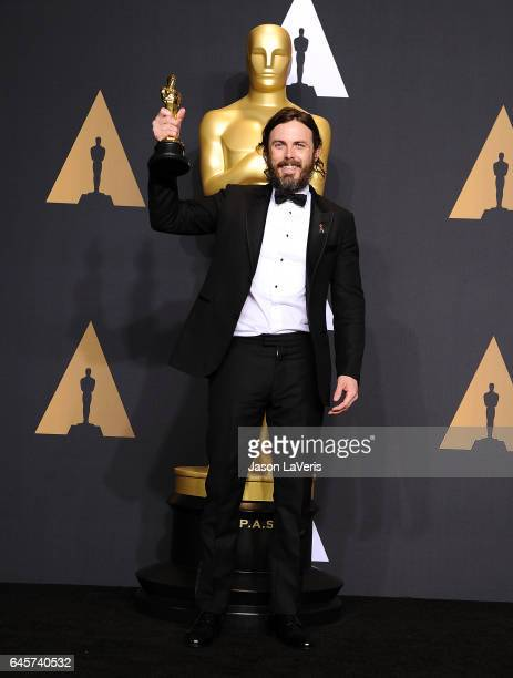 Actor Casey Affleck poses in the press room at the 89th annual Academy Awards at Hollywood Highland Center on February 26 2017 in Hollywood California