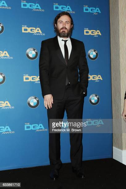 Actor Casey Affleck poses in the press room during the 69th Annual Directors Guild of America Awards at The Beverly Hilton Hotel on February 4 2017...