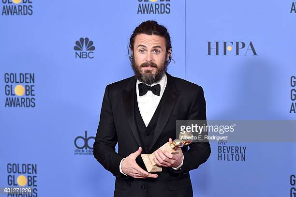 Actor Casey Affleck poses in the press room during the 74th Annual Golden Globe Awards at The Beverly Hilton Hotel on January 8, 2017 in Beverly...
