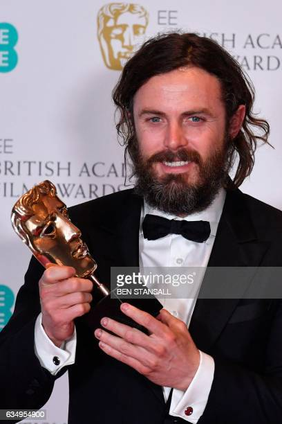 US actor Casey Affleck poses with the award for a Leading Actor for his work on the film 'Manchester by the Sea' at the BAFTA British Academy Film...