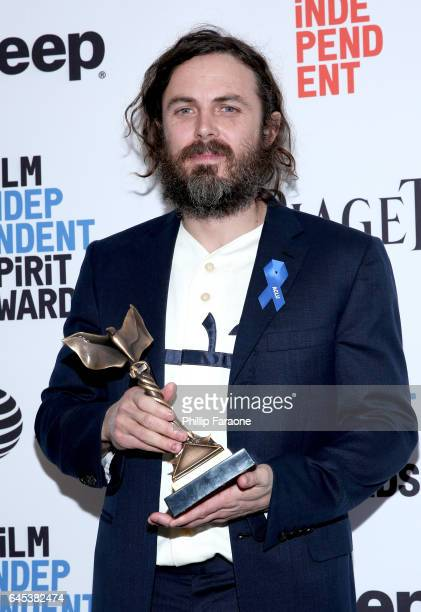 Actor Casey Affleck winner of the Best Male Lead award for 'Manchester by the Sea' poses in the press room during the 2017 Film Independent Spirit...