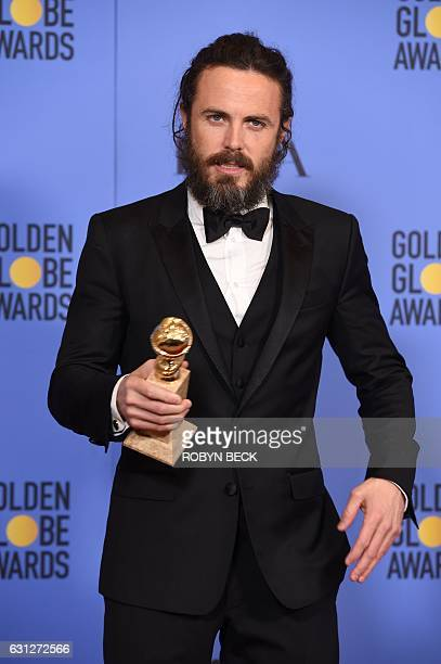 Actor Casey Affleck, winner of the Best Performance by an Actor in a Motion Picture ? Drama for 'Manchester by the Sea', poses in the press room at...