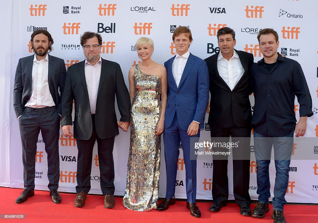Actor Casey Affleck, writer/director Kenneth Lonergan, actors Michelle Williams, Lucas Hedges and Kyle Chandler and producer Matt Damon attend the 'Manchester by the Sea' premiere during the 2016 Toronto International Film Festival at Princess of Wales Theatre on September 13, 2016 in Toronto, Canada.
