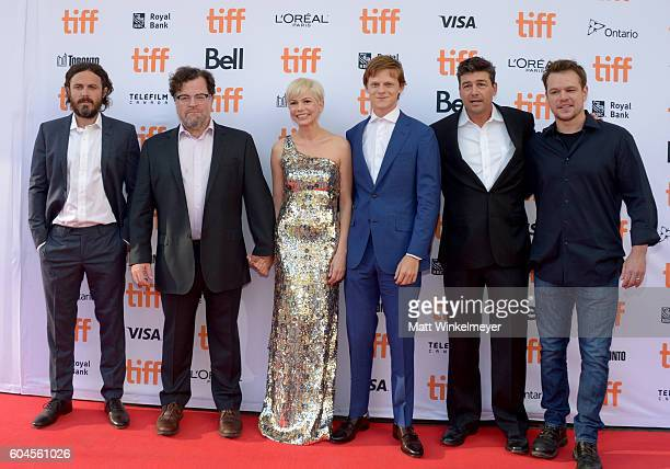Actor Casey Affleck writer/director Kenneth Lonergan actors Michelle Williams Lucas Hedges and Kyle Chandler and producer Matt Damon attend the...
