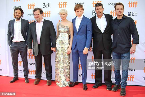 Actor Casey Affleck writer/director Kenneth Lonergan actors Michelle Williams Lucas Hedges Kyle Chandler and producer Matt Damon attend the...