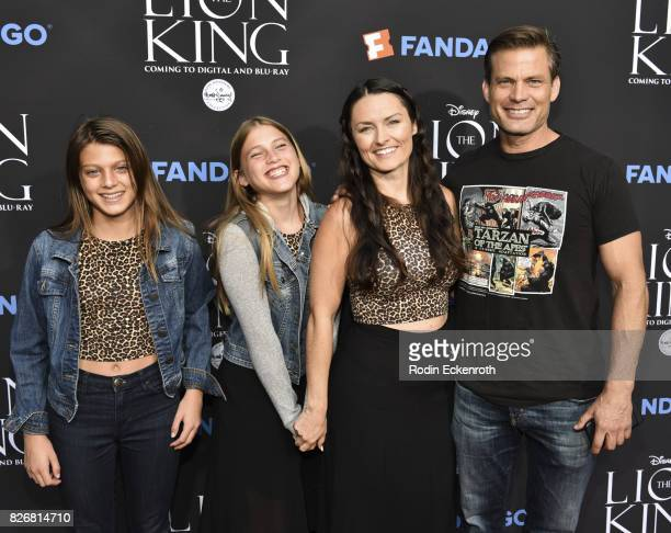 Actor Casper Van Dien and Grace Van Dien and Sally Lomonaco attend The Lion King singalong screening at The Greek Theatre on August 5 2017 in Los...