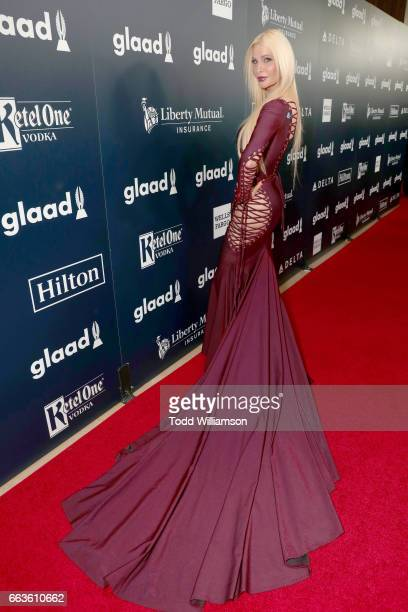 Actor Cassandra Cass attends the 28th Annual GLAAD Media Awards in LA at The Beverly Hilton Hotel on April 1 2017 in Beverly Hills California