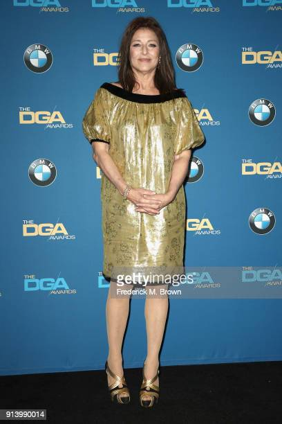 Actor Catherine Keener poses in the press room during the 70th Annual Directors Guild Of America Awards at The Beverly Hilton Hotel on February 3...