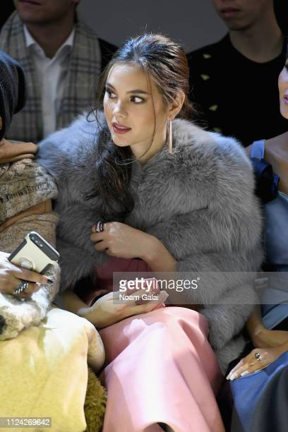 Actor Catriona Gray attends the Phuong My front row during New York Fashion Week The Shows at Gallery II at Spring Studios on February 12 2019 in New...