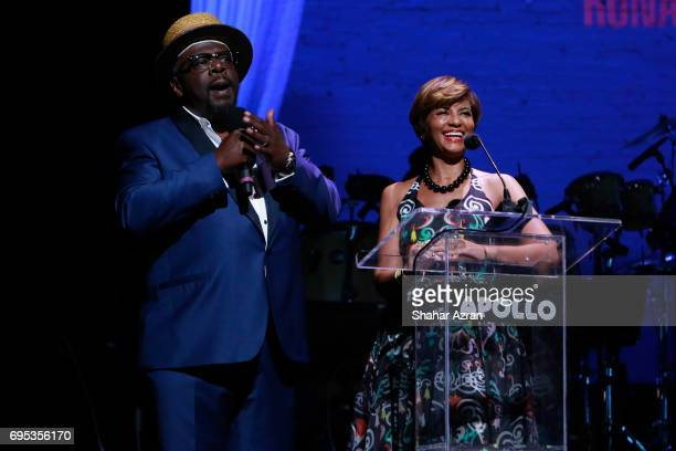 Actor Cedric the Entertainer and Apollo board member Karen Phillips speak during the Apollo Spring Gala 2017 at The Apollo Theater on June 12 2017 in...