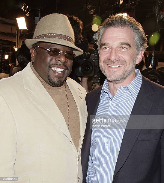 Actor Cedric the Entertainer and producer Charles Castaldi pose at the premiere of Universal's Welcome Home Roscoe Jenkins at the Chinese Theater on...
