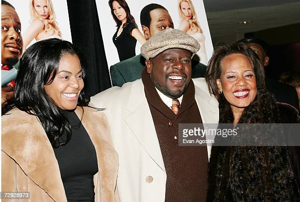 Actor Cedric The Entertainer poses with his wife Lorna and mother Rosetta Kyles at the premiere of ''Code Name The Cleaner'' at The Empire 25 January...