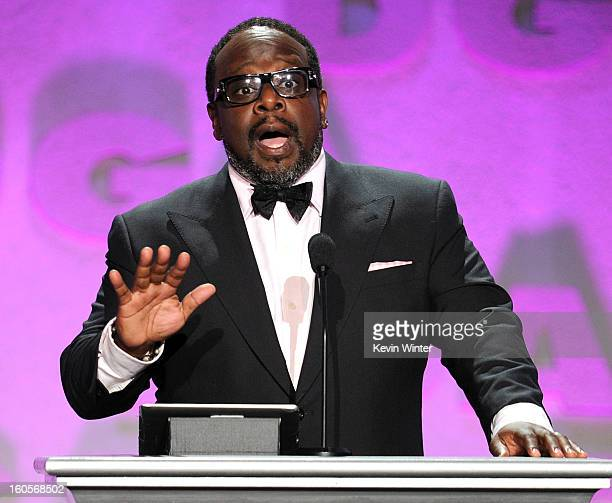 Actor Cedric the Entertainer speaks onstage during the 65th Annual Directors Guild Of America Awards at Ray Dolby Ballroom at Hollywood Highland on...
