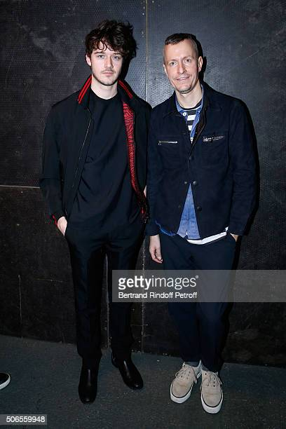 Actor Cesar Domboy and Stylist Lucas Ossendrijver attend the Lanvin Menswear Fall/Winter 2016-2017 show as part of Paris Fashion Week on January 24,...