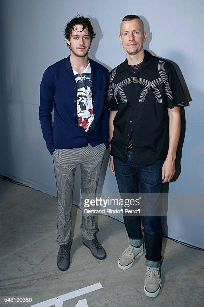 Actor Cesar Domboy and Stylist Lucas Ossendrijver attend the Lanvin Menswear Spring/Summer 2017 show as part of Paris Fashion Week on June 26, 2016...