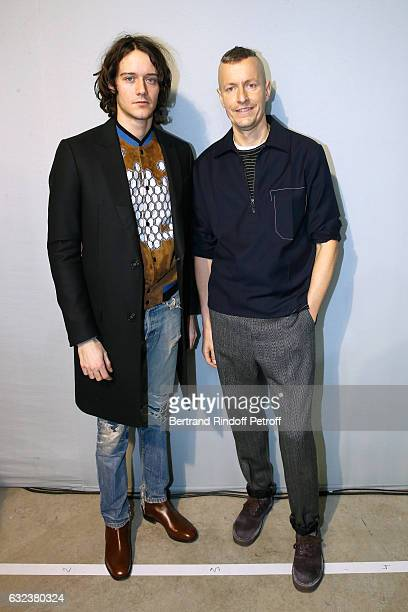 Actor Cesar Domboy and Stylist of 'Lanvin Men', Lucas Ossendrijver attend the Lanvin Menswear Fall/Winter 2017-2018 show as part of Paris Fashion...
