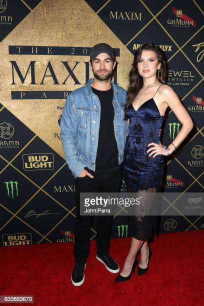 Actor Chace Crawford and Maya Henry arrive at the Maxim Super Bowl Party on February 4 2017 in Houston Texas
