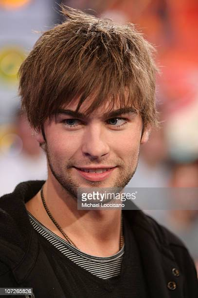 Actor Chace Crawford appears on MTV's TRLat MTV Studios in New York City's Times Square on December 17 2007 The air date for this show is December 19...