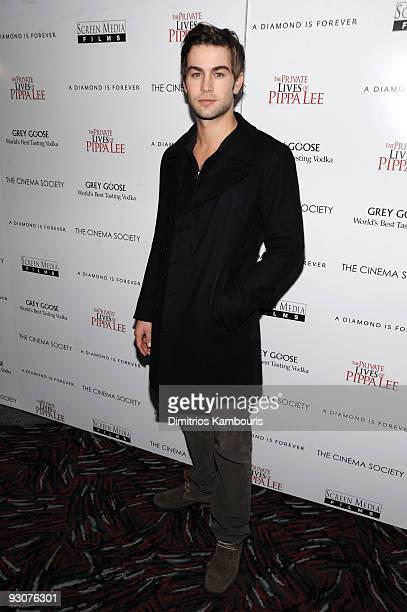 Actor Chace Crawford attends The Cinema Society A Diamond Is Forever screening of 'The Private Lives of Pippa Lee' at AMC Loews 19th Street on...