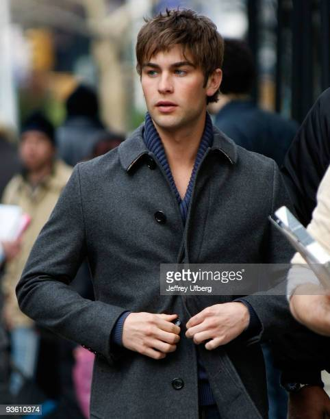 Actor Chace Crawford filming on location for 'Gossip Girl' on the streets of Manhattan on December 2 2009 in New York City
