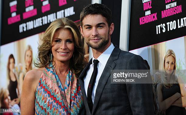 Actor Chace Crawford poses with his mother Dana Crawford as he arrives for the premiere of What To Expect When You Are Expecting May 14 2012 at...