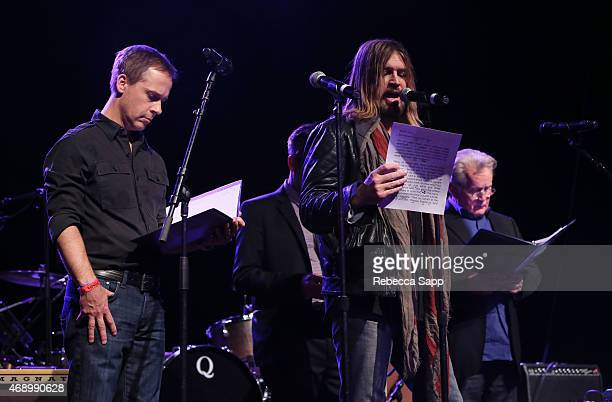 Actor Chad Lowe singer Billy Ray Cyrus and actor Martin Sheen speak onstage at the Concert For Social Justice at The Fonda Theatre on April 8 2015 in...