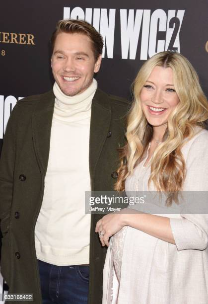 Actor Chad Michael Murray and wife Sarah Roemer attend the premiere of Summit Entertainment's 'John Wick Chapter Two' at ArcLight Cinemas on January...