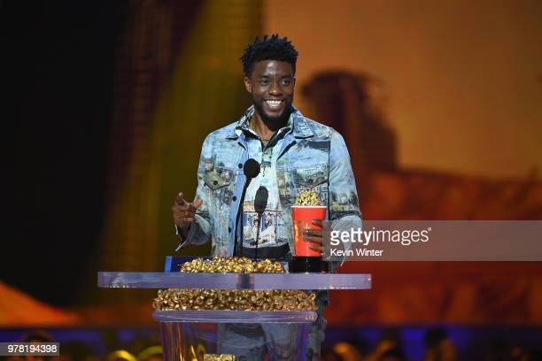 Actor Chadwick Boseman accepts the Best Performance in a Movie award for 'Black Panther' onstage during the 2018 MTV Movie And TV Awards at Barker...
