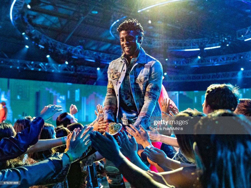 Actor Chadwick Boseman accepts the Best Performance in a Movie award for 'Black Panther' onstage during the 2018 MTV Movie And TV Awards at Barker Hangar on June 16, 2018 in Santa Monica, California.