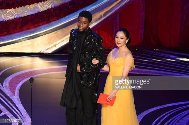 Actor Chadwick Boseman and actress Constance Wu arrive to present an award during the 91st Annual Academy Awards at the Dolby Theatre in Hollywood...