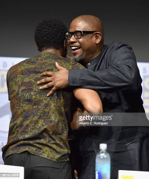 Actor Chadwick Boseman and Forest Whitaker from Marvel Studios' 'Black Panther' at the San Diego ComicCon International 2017 Marvel Studios Panel in...